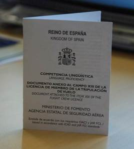 Anotación de competencia lingüística en la licencia de vuelo