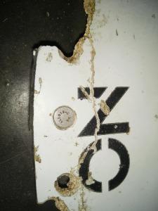 Detalle de los restos localizados en Mozambique. Fuente ATSB. Imagen de Blaine Gibson