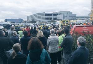 Minuto de silencio tras los atentados de Bruselas en el aeropuerto de Zaventem